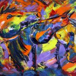 Abstract Horse Painting Equine Palette Knife Art Colorado Artist