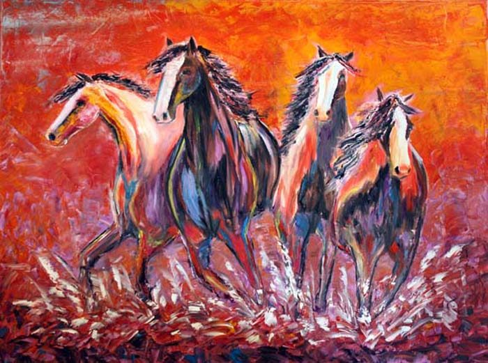Abstract Horse Painting Paint Stampede Contemporary