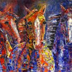 Abstract Horse Palette Knife Painting Starfall Horses Colorado