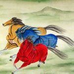 Abstract Horses Watercolor Painting