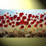 Abstract Textured Painting Red Poppy Modern Flower