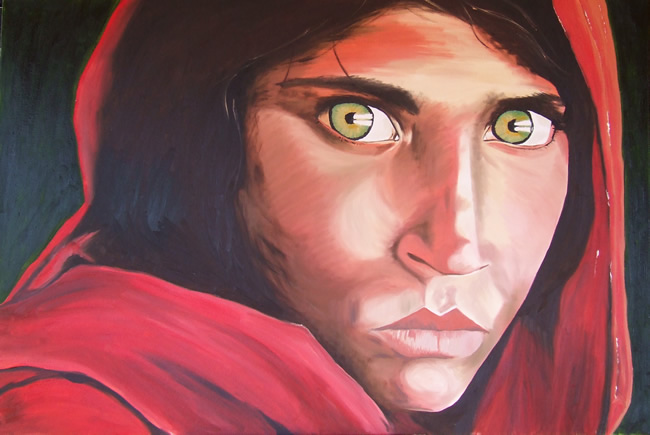 Afghan Girl Rendition The Famous Made
