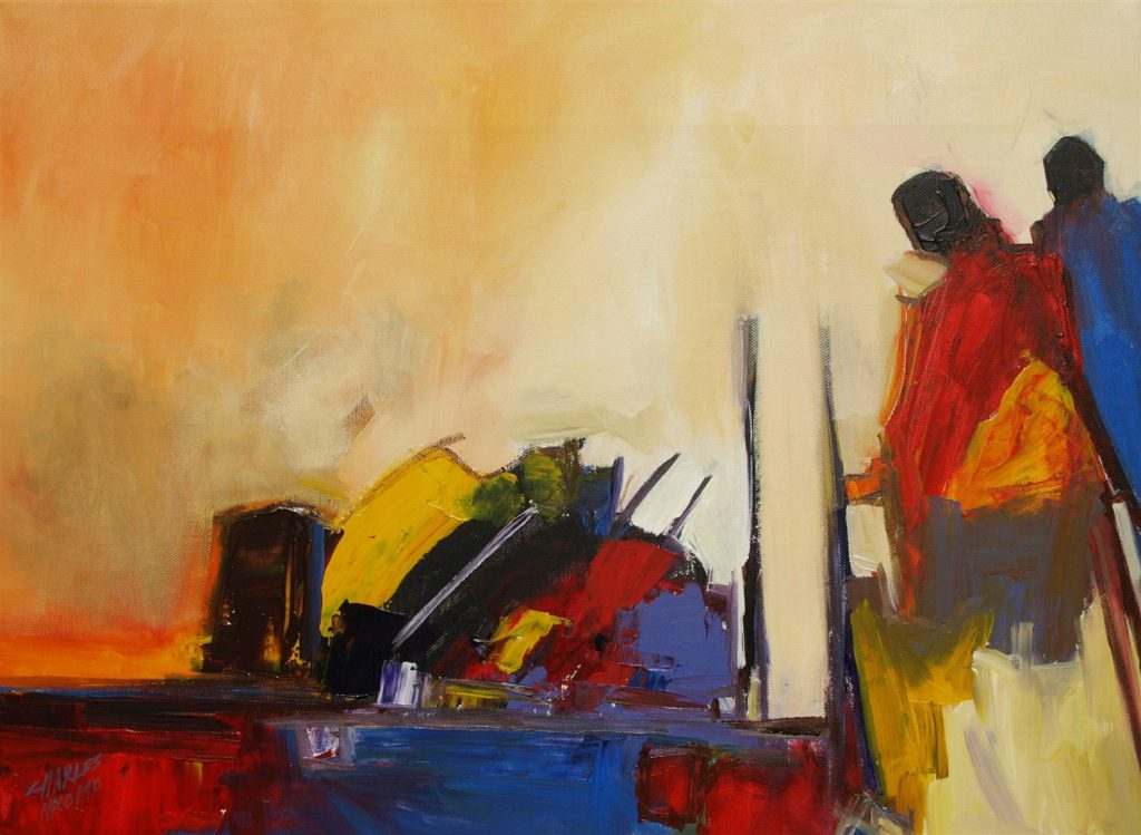 African Art Falling Love Painting Artist Charles Nkomo From