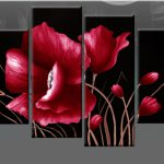 And Black Floral Flower Canvas Picture Wall Art Split Multi Panel