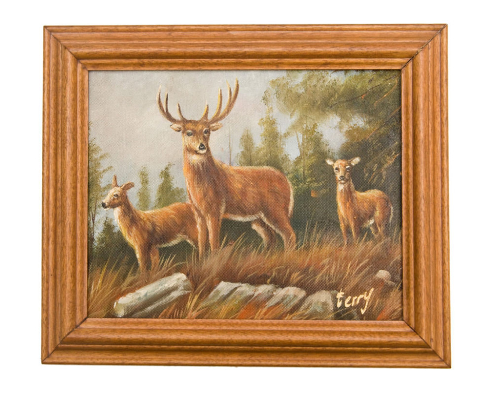 Antique Style Deer Oil Painting Canvas Wooden Frame China