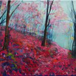 Art Purple Forest Original Acrylics And Oil Painting Canvas