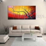 Astonishing Huge Multiple Panels Canvas Wall Art Contemporary Plum