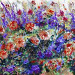 Bed Flowers Impressionist Painting