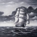 Black And White Clipper Ship Oil Painting