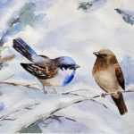 Blue Bird Newbird Behr Watercolor Composition New