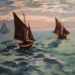 Boats Sea Claude Monet Painting Reproduction Fishing