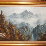 Boren Large Oil Canvas Mountain Waterfall Painting