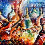 Bottle Jazz Original Oil Canvas Painting Leonidafremov