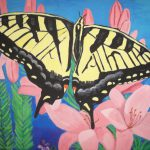 Butterfly Painting Canvas Art Yellow Garden Lillies Flowers Spring