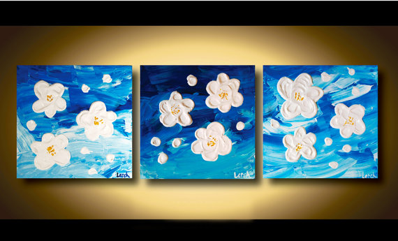 Canvas Art Painting Multiple Panels Abstract Flower