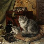 Cat Paintings And Her Kittens Play