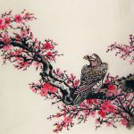 Chinese Flower Paintings Plum Blossom And Hawk