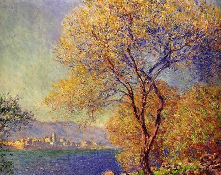 Claude Monet Paintings Antibes Seen From The Salis