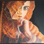 Colors Indian Women Oil Painting Canvas
