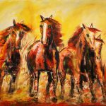 Contemporary Abstract Horse Painting The Run Colorado Artist
