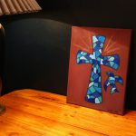 Cross Oil Painting Canvas Blue Stained Glass Mosaic Dove