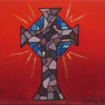 Cross Oil Painting Canvas Stained Glass Mosaic Inspired Purple