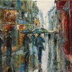 Details About Original Oil Painting Canvas Dusan Rainy Street