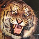 Details About Original Wild Animal Oil Painting Art Tiger