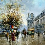 Enlarge Painting Name Quai Louvre Size Inches