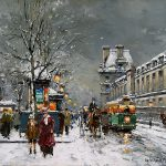 Enlarge Painting Name Quai Louvre Sous Neige