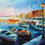Fishing Boats Palette Knife Oil Painting Canvas Leonid