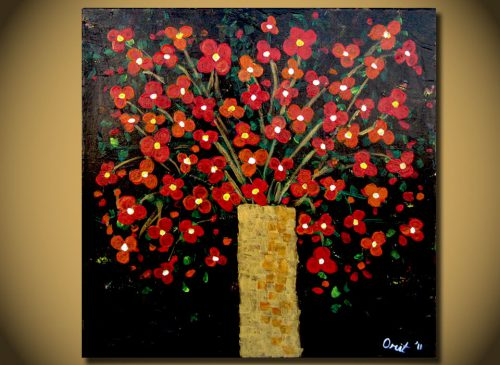 Floral Vase Bouquet Flowers Modern Contemporary Fine Art Acrylic