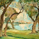French Century Impressionist Watercolor Landscape
