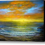 Golden Sunset Stretched Canvas Print Art Jeannette Ulrich
