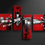 Hand Painted Black And Red Modern Abstract Oil Painting Canvas