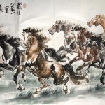 Handmade Collection Chinese Painting Success Horses Works