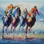 Horse Racing Galloping Portraits Animal Equestrian Abstract Oil