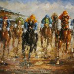 Horse Racing Hand Painted Oil