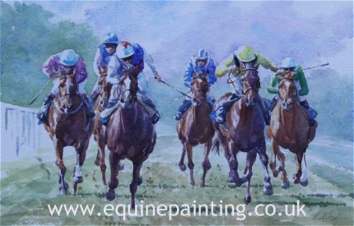 Horse Racing Watercolour