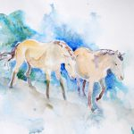 Horses Watercolor Paper This Study Asian Wild