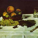 Life Fruit Table Famous Art Work Drawing Edouard Manet
