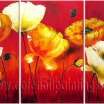 Modern Oil Paintings Canvas Flower Painting Set