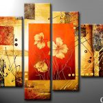 Modern Painting Gold Composition Flowers Click Enlarge