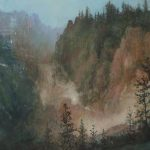 Mountains Landscape Pastel Painting Famous Yellowstone Park Vista