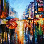 Night Umbrellas Original Oil Canvas Painting Leonidafremov