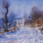 Oil Painting Reproduction Road Giverny Winter Claude Monet