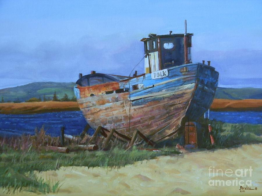 Old Abandoned Boat Painting Fine Art Print