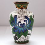Old Cloisonne Handwork Carved And Painting Beautiful Flower Vase