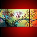 Original Canvas Flowers And Tree Oil Painting Art