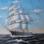 Painting Sailing Boat The Ocean Canvas Classical Fine Art